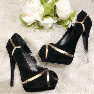 Colin Stuart open toe black suede heels